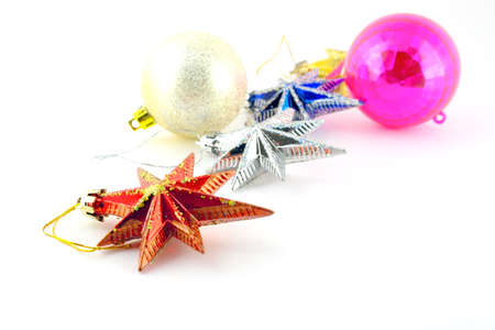 Holiday decoration, color balls, stars for New Year's tree Stock Photo - 17255885