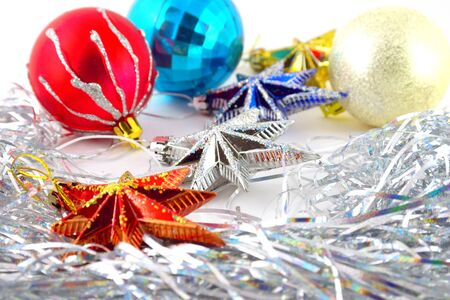 Holiday decoration, color balls, stars for New Year's tree Stock Photo - 17255863
