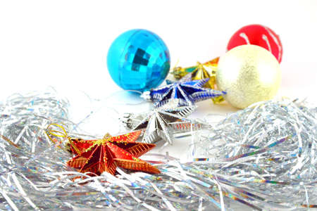 Holiday decoration, color balls, stars for New Year's tree Stock Photo - 17441851