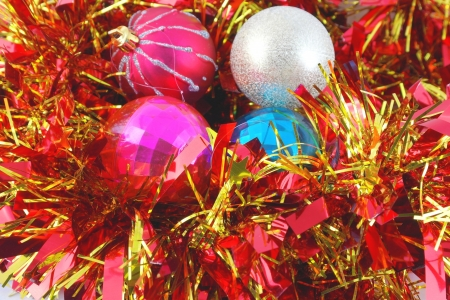 Christmas background with color balls and decoration photo