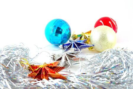 Holiday decoration, color balls, stars for New Year Stock Photo - 17833367