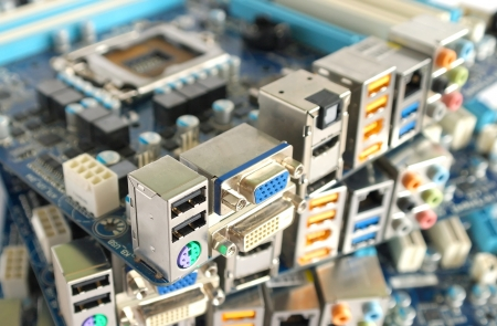 product information: Computer main boards. Shallow DOF. Stock Photo