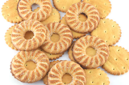 Background from set cookie of the round shape Stock Photo - 18590788