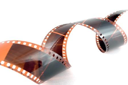 Old color negative film over white Stock Photo