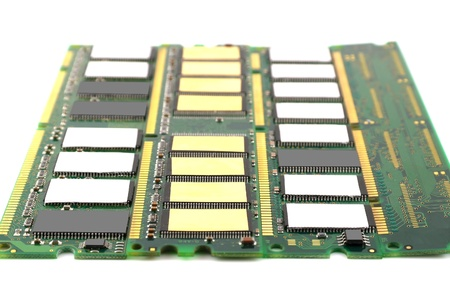 ddr: Memory chips for computer over white