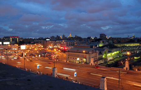Moscow city night, view on Belorusky railroad station photo