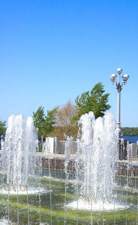 Fountain on quay of river Volga in the city Samara photo