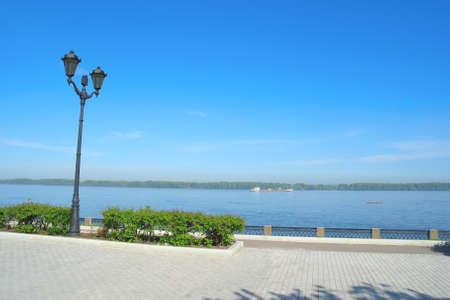 the volga river: View on quay of river Volga in the city Samara Stock Photo