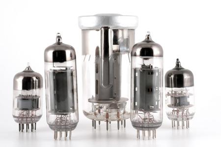 Glass vacuum radio tubes over white