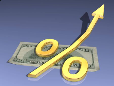one hundred dollars: Symbol of the percent rests upon one hundred dollars
