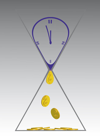 Illustration since sand hour, as time changes in money Vector