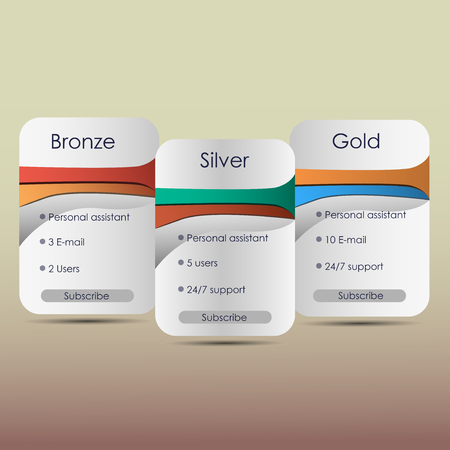 price list: Hosting plans and web boxes banners design, price list