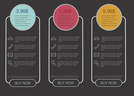 tariff: Triple banner in the style of circles and lines, banner for hosting, tariff plans for hosting, web elements.