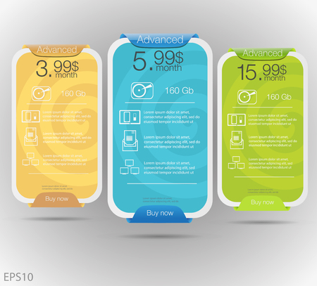 Three tariffs banners. Web pricing table. design for web app.