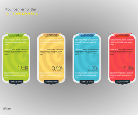 price list: Four banner for the tariffs and price lists. Web elements. Plan hosting. design for web app. Four banner for the clouded sky service. Price list, hosting plans and web boxes banners design. Illustration
