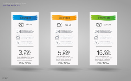 price list: Price list for hosting,  for the tariffs and price lists. Web elements.