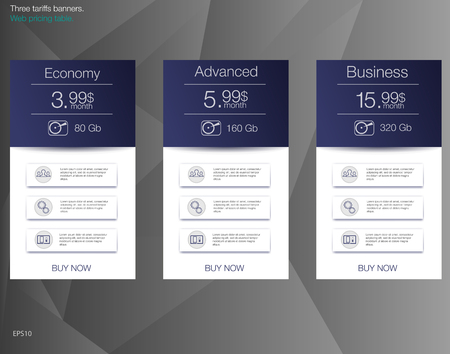 Price list for hosting, banner for the tariffs and price lists. Web elements. Illustration