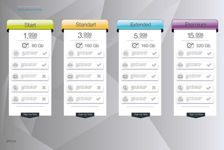 Vier Banner für den bewölkten Himmel Service. Preisliste, Hosting und Web-Boxen Banner-Design. Vier Banner für die Tarife und Preislisten. Web-Elemente. Hosting-Plan. Design für Web-App.