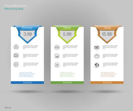 price list: Three tariffs banners. Web pricing table. design for web app. Set offer tariffs. Price list. Illustration