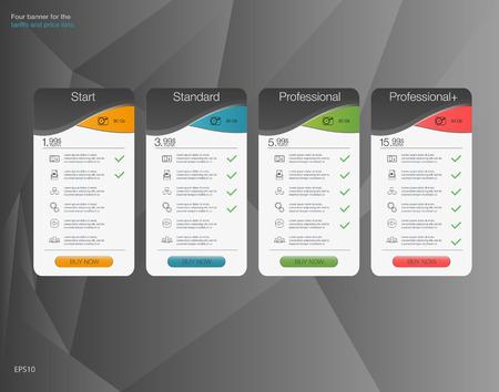 Vier Banner für die Tarife und Preislisten. Web-Elemente. Hosting-Plan. Design für Web-App. Vier Banner für den bewölkten Himmel Service. Preisliste, Hosting und Web-Boxen Banner-Design.