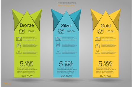 Three banner for the tariffs and price lists. Web elements. Plan hosting.  design for web app. Plan for website in flat design.