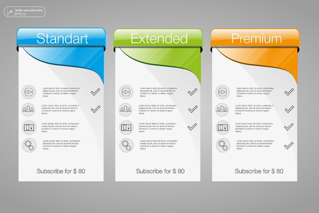 Three banner, price list, interface for the site. vector banner for web app. 3 position. Illustration