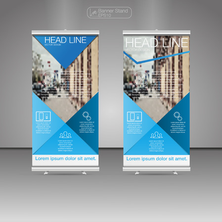 Roll Up Banner Stand, template and info graphics, banner stand design. Vector. Stock Vector - 68690483