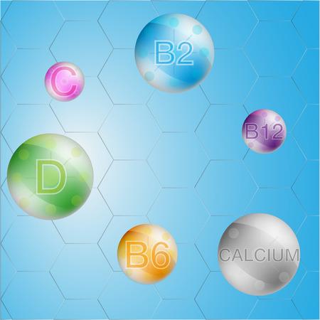 Serum and Vitamin Blue Background Concept Skin Care Cosmetic. calcium, b1, b2, b6, b12, A, C, D, vitamin vector Illustration