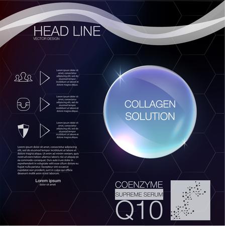 serum: Coenzyme Q10. Serum or collagen, vitamin and background Vector. Illustration of collagen serum.