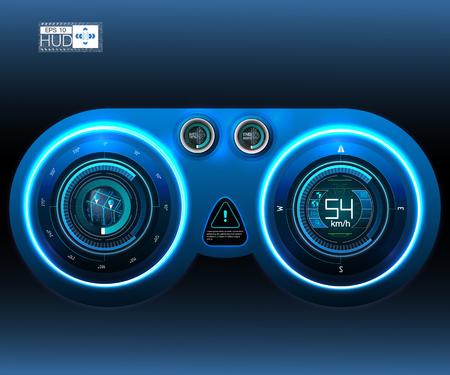 車の HUD のダッシュ ボード。抽象仮想グラフィック タッチ ユーザー インターフェイス。 未来的なユーザー インターフェイスの HUD とインフォ グラフィックの要素。 ベクターイラストレーション