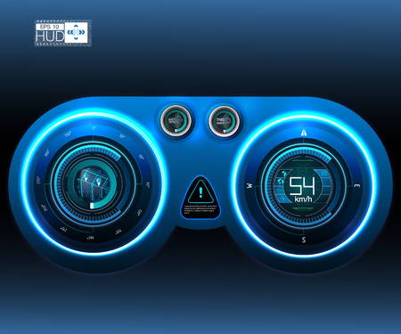 Car HUD Dashboard. Abstract virtual graphic touch user interface. Futuristic user interface HUD and Infographic elements. Ilustração Vetorial