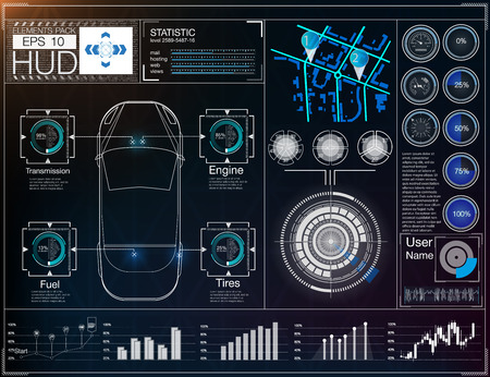 HUD UI. Abstract virtual graphic touch user interface. Cars infographic. Vector science abstract.  Vector illustration.