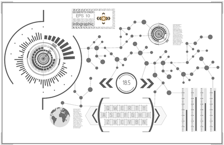 User interface. HUD UI. Abstract virtual graphic touch user interface. HUD background outer space. Vector science abstract.  Vector illustration. Illustration