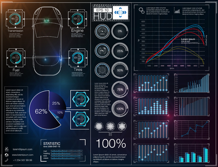 infomation: Abstract background with different elements of the hud. Hud elements,graph.Vector illustration.Head-up display elements for Infographic elements.