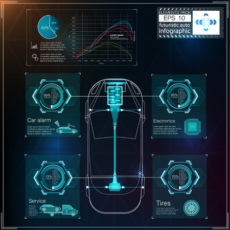 Futuristic user interface. HUD UI. Abstract virtual graphic touch user interface. Cars infographic. Vector science abstract.  Vector illustration.
