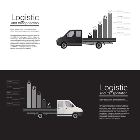 freight train: Logistic concept flat banners car cargo delivery van vector template Illustration