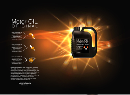 automotive industry: bottle engine oil background, vector illustration