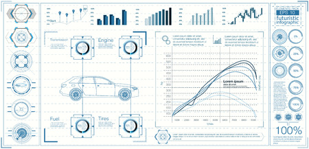 garage: Futuristic user interface. HUD UI. Abstract virtual graphic touch user interface. Cars infographic. Vector science abstract.  Vector illustration.
