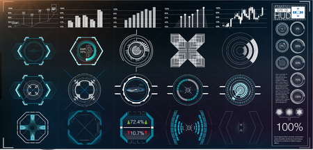 A large package of hud elements, graphics, displays, analog and digital instruments, radar scales. Abstract HUD. Futuristic Sci Fi Modern User interface Set.