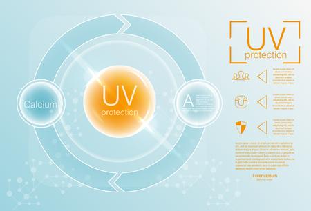 Ultraviolet sunblock icon. UV protection icon.  Vector illustration