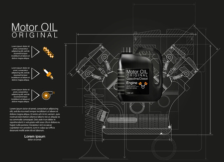 Bottle engine oil background, vector illustration, Technical illustrations. Vectores