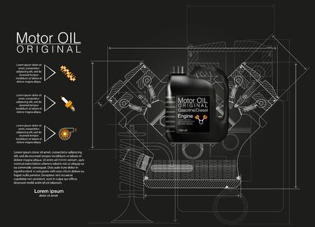 Bottle engine oil background, vector illustration, Technical illustrations. Illustration