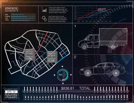Cargo transportation infographics, template application for the delivery of goods. Cargo delivery map. Futuristic information display. Easy color change. The elements that have been clipped.