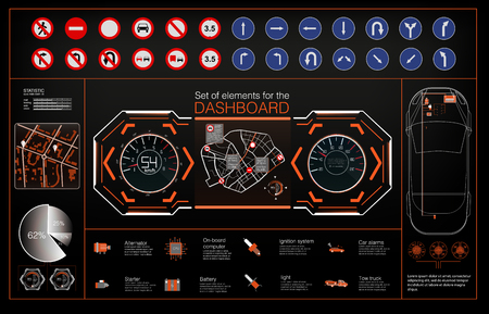 Set of modern head up display and elements for it. Futuristic user interface. HUD UI. Abstract virtual graphic touch user interface. Vector science abstract. Vector illustration. Ilustração
