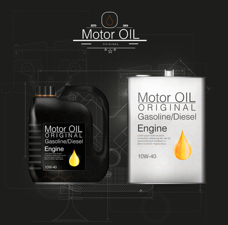 Vector canister oil bottle engine, oil background, vector illustration