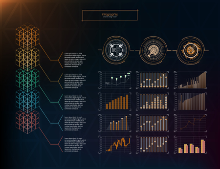 Blockchain hud infographic.