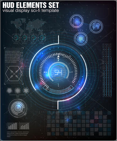 Futuristic user interface. HUD UI. Abstract virtual graphic touch user interface. Infographic. Vector science abstract.  Vector illustration.