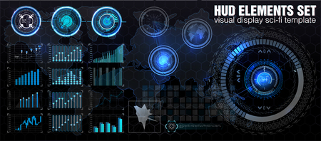 HUD UI. Abstract virtual graphic touch user interface. Infographic. Vector science abstract.  Vector illustration. Futuristic user interface.Graphic display control the pallet rocket. Sky-fi HUD. Vector eps10.
