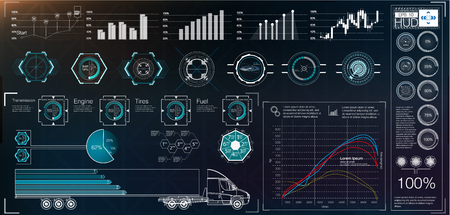Futuristic user interface. HUD UI. Abstract virtual graphic touch user interface. Cars infographic. Vector science abstract.  Vector illustration. Stock fotó - 102073986
