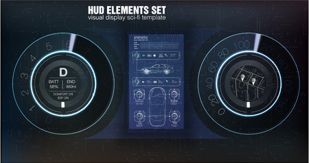 Automotive dashboard of the future. Hybrid car. Diagnostics and elimination of breakdowns. Blue. HUD style. Vector image. Ilustrace